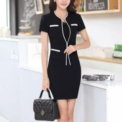 Princess Min - Set: Piped Short-Sleeve Jacket + Pencil Skirt