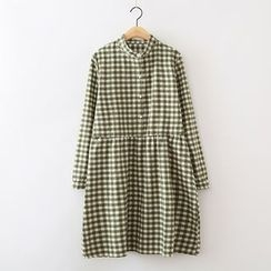 ninna nanna - Gingham Long-Sleeve Dress