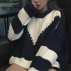EEKO - Color Block Chunky Knit Sweater