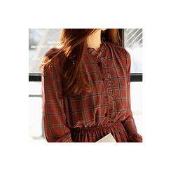 CHERRYKOKO - Gathered-Waist Pattern Chiffon Maxi Shirtdress