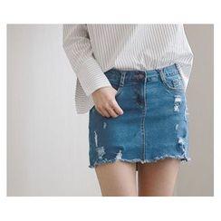 demavie - Distressed Denim Skirt
