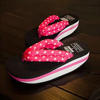 SouthBay Shoes - Polka Dot Platform Flip-Flops