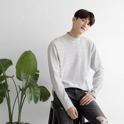 Seoul Homme - Mock-Neck Striped T-Shirt