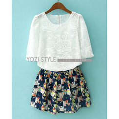 YOZI - Set: Elbow-Sleeve Crown Embroidered Top + Pleated Skirt