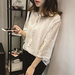 Little V - 3/4-Sleeve Embroidered Chiffon Top