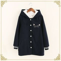 Fairyland - Cat Embroidered Fleece Lined Hooded Coat