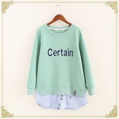 Fairyland - Cactus Print Striped Lettering Pullover