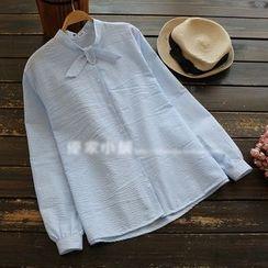 YOYO - Tie-Neck Striped Blouse
