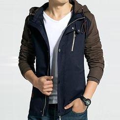 Besto - 雙色連帽拉鏈夾克