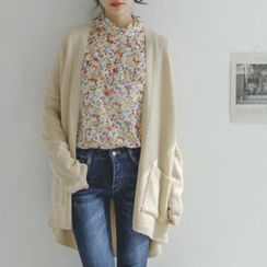 JUSTONE - Open-Front Colored Long Cardigan