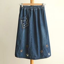 Angel Love - Midi A-Line Denim Skirt
