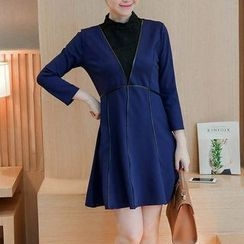 Ekim - Long-Sleeve Woolen Panel A-line Dress