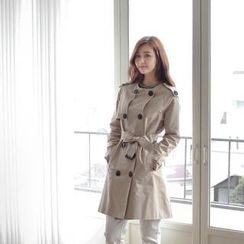 Styleberry - Round-Neck Trench Coat with Belt