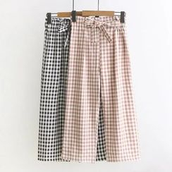 Moricode - Check Wide Leg Pants