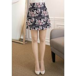 MyFiona - Cherry Blossom Embroidered Mini Skirt