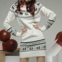 Yohana - Reindeer Patterned Long Knit Top