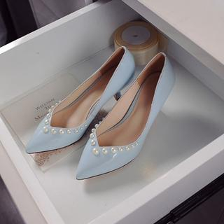 JY Shoes - Genuine Leather Faux Pearl Pumps