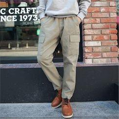 MITOSHOP - Elastic-Waist Cargo-Pocket Pants