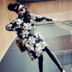 Dream Girl - Floral Print Long-Sleeve Pullover Dress