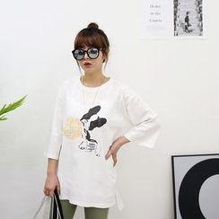 Seoul Fashion - Elbow-Sleeve Puppy Print T-Shirt