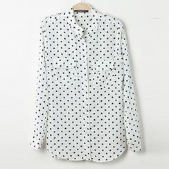 Neeya - Long-Sleeve Dotted Chiffon Blouse