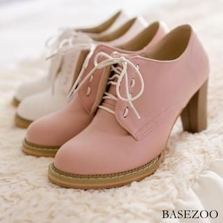 BaseZoo - Faux-Leather Lace-Up Pumps