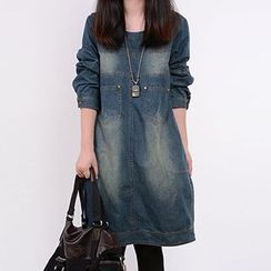Athena - Long-Sleeve Washed Denim Dress