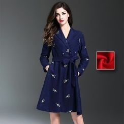 Y:Q - Floral Embroidered Double-Breasted Coatdress
