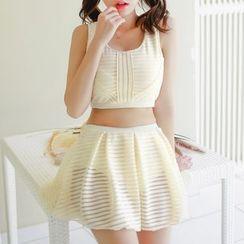 Jumei - Set: Plain Tankini Top + Swimskirt