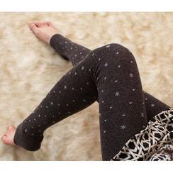 花小朵 - 雪花踩腳內搭褲