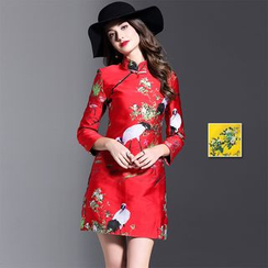 Y:Q - Embroidered 3/4-Sleeve Cheongsam