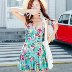 Blue Lagoon - Floral Print Swimdress