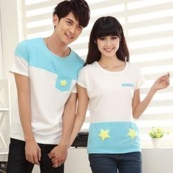 Lovebirds - Couple Short-Sleeve Color-Block T-Shirt