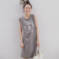 Tokyo Fashion - Cap-Sleeve Slit-Side Long Top