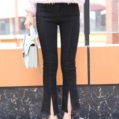 Crytelle - Slit Boot Cut Jeans