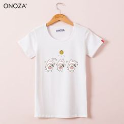Onoza - Short-Sleeve Rabbit-Print T-Shirt