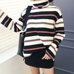 DANI LOVE - Turtle-Neck Stripe Brushed-Fleece Lined Sweater