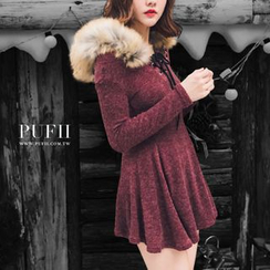 PUFII - Faux-Fur Trim Hooded Tunic