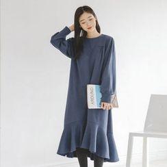 JUSTONE - Ruffle-Hem Midi Pullover Dress
