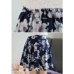 MyFiona - Floral Pattern A-Line Mini Skirt