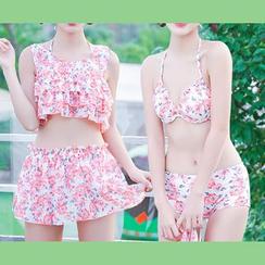 Dolfin - Set: Floral Print Bikini + Tank Top + Swim Skirt