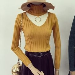 Honeydew - Cutout Turtleneck Knit Top