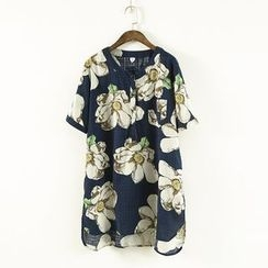 Ranche - Floral Print Short-Sleeve Blouse