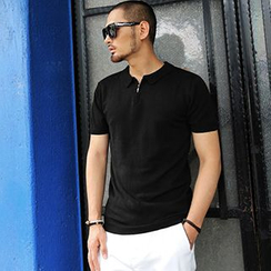 Mannmix - Plain Knit Polo Shirt