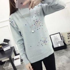Acoustic Rain - Embellished Mock Neck Sweater
