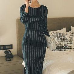 Yilda - Set: Striped Zip Top + Pencil Skirt