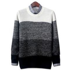 Seoul Homme - Round-Neck Color-Block Waffle Sweater