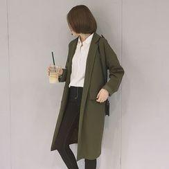 Zzang Girls - 純色平駁領風衣