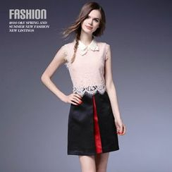 Ozipan - Sleeveless Lace Panel Contrast-Color Hem Dress