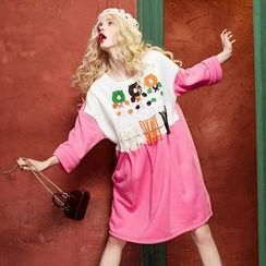 ELF SACK - Long-Sleeve Color-Block Dress